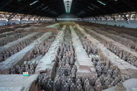 terracotta: xian terracotta warriors and horses panorama Editorial