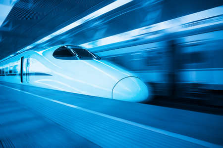 fast train: china railway highspeed train with blue tone Editorial