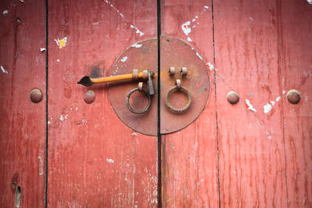 an old wooden door and handle knocker Stock Photo - 18871969