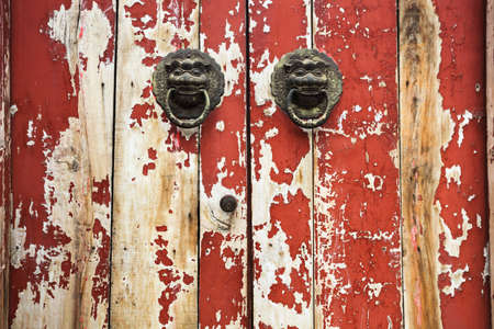 closeup of the mottled old door with knocker photo
