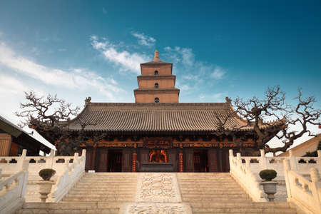 the great buddha's hall with giant wild goose pagoda background in Xian, China  Stock Photo - 18928112