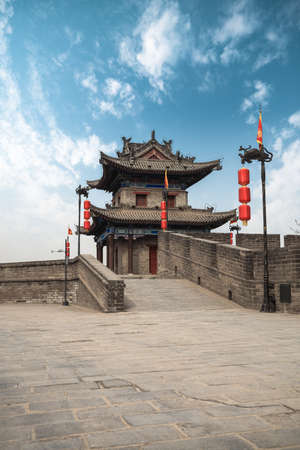 turret: xian ancient turret on city wall,China