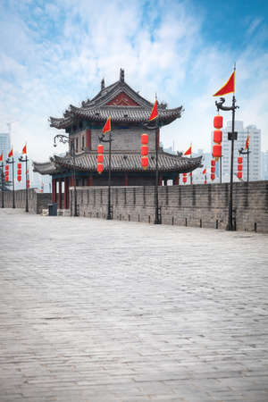 ancient tower on city wall in xian,China photo