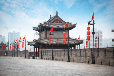 ancient tower on city wall in Xi Stock Photo - 18929841
