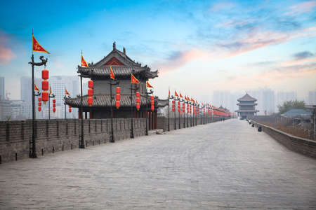 ancient tower at dusk in xian city wall ,China