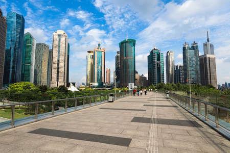 shanghai lujiazui financial center with footbridge view photo