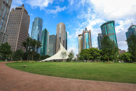 shanghai lujiazui financial center with lawn Stock Photo - 19370343