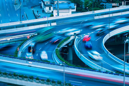 interchange: the overpass closeup with vehicle motion blur