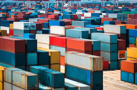 very many containers in shanghai sea port Stock Photo