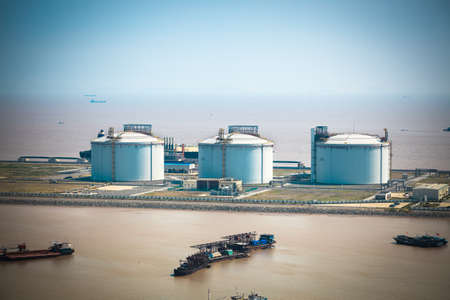 liquefied: LNG tanks at the port in shanghai yangshan port,China