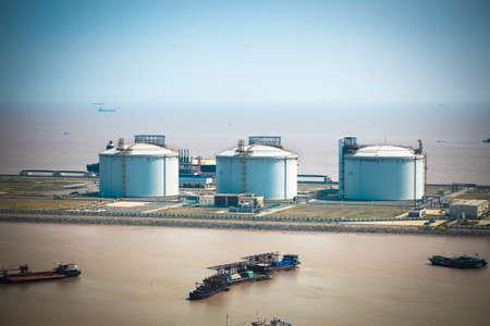 natural gas: LNG tanks at the port in shanghai yangshan port,China