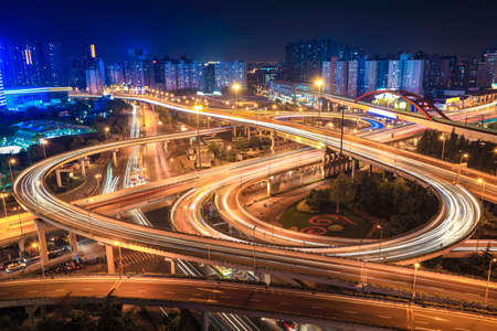 elevated view: city interchange overpass at night in shanghai