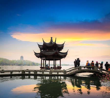 beautiful west lake scenery at dusk in hangzhou,China