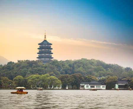 stupas: hangzhou scenery,pagoda on the west lake lakefront in dusk