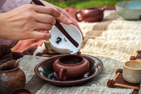 chinese drinks: closeup of traditional tea ceremony in asia style