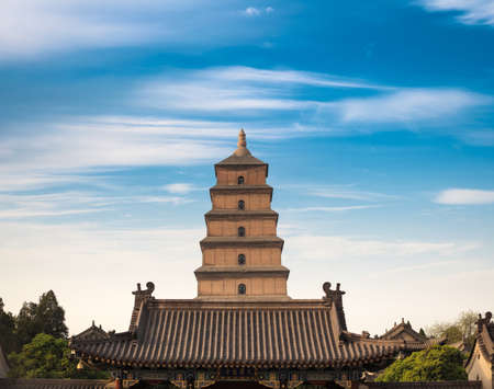 wild goose pagoda against a blue sky in Asian ,China. Stock Photo - 21007485