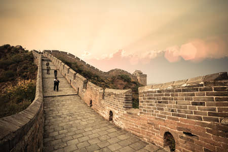 China the great wall with hikers at beautiful dusk