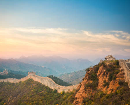 great wall: beautiful great wall in sunset,China Editorial