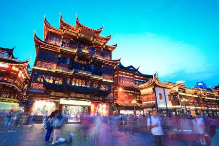 shanghai china: traditional shopping area in shanghai at dusk, China