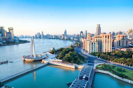 shanghai morning,beautiful huangpu river and the bund.China