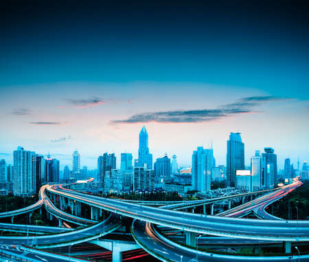 elevated: beautiful city elevated overpass in shanghai at dusk
