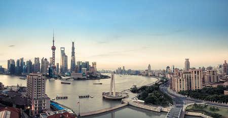 中国上海のパノラマ風景。