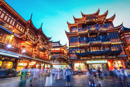asia business: beautiful yuyuan garden at night,traditional shopping area in shanghai, China. Stock Photo