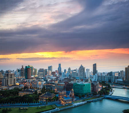 cityscape of shanghai at dusk in suzhou riverside Stock Photo - 21858795