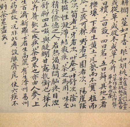 script: ancient chinese calligraphy of tea scripture, which describes the original of tea, and tea culture.