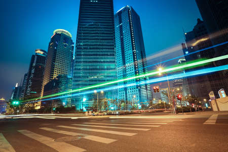 light trails on the urban road in shanghai financial center,China. Imagens - 21858800