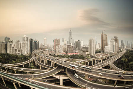 overpass: elevated road junction panorama in shanghai at dusk,China