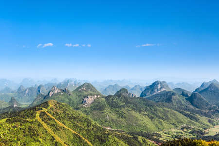 guilin: beautiful karst hills against a blue sky in guilin,China