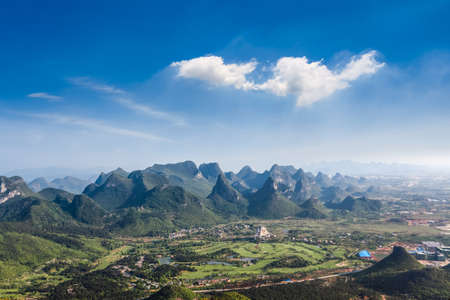 aerial view of guilin hills with blue sky,beautiful karst landscape Stock Photo - 21858828