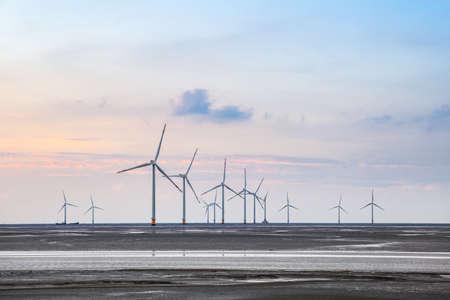 wind turbines on the coastal mud flat in sunset photo