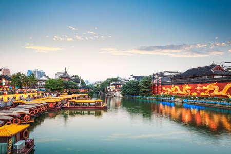canal street: beautiful nanjing confucius temple at dusk,China.
