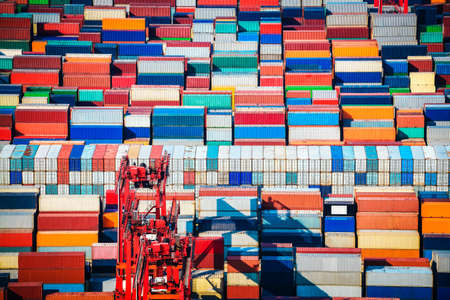 cargo container: many containers in stacked shanghai container terminals Stock Photo