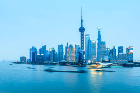 shanghai pudong panorama in nightfall , China