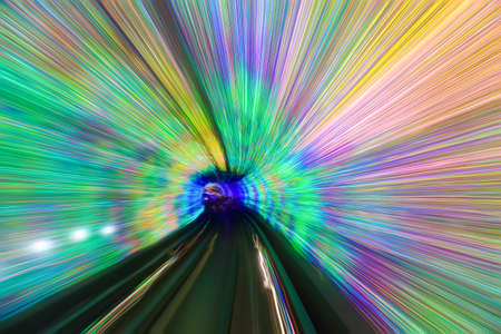 motion fast in colorful tunnel ,abstract speed toward the exit photo