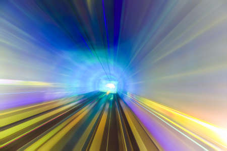 tunnel view: motion fast in colorful tunnel ,abstract speed toward the light.