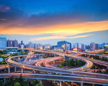 beautiful overpass with sunset glow in shanghai photo