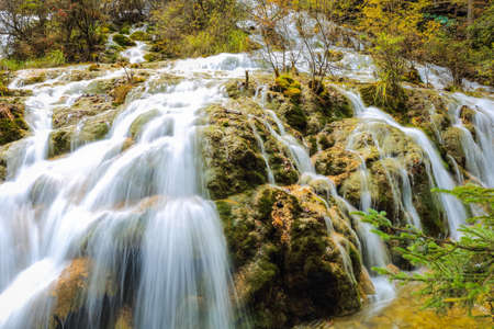 waterfall and and stream in autumn forest photo
