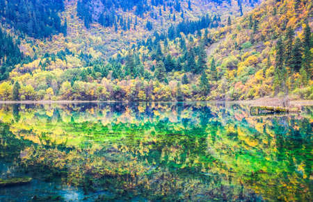 beautiful five flower lake at jiuzhaigou valley scenic and historic interest area, Sichuan, China. photo
