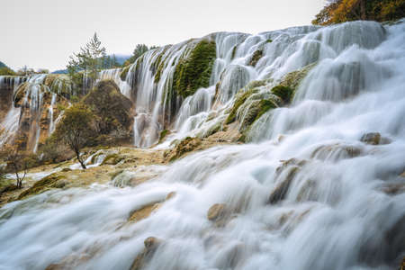 pearls beach waterfall at jiuzhai valley national park, sichuan, China. photo