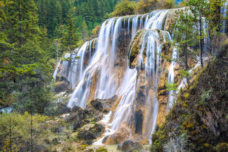 beautiful pearls beach waterfall at jiuzhai valley national park, sichuan, China. photo