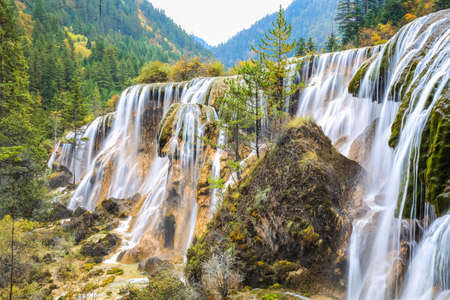 beautiful pearls beach waterfall in autumn at jiuzhai valley national park, sichuan, China. photo