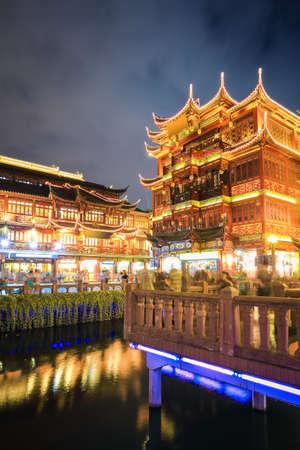 shanghai yuyuan at night , famous traditional shopping street , China.