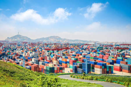 cargo container: container yard under the blue sky  in shanghai yangshan deepwater port