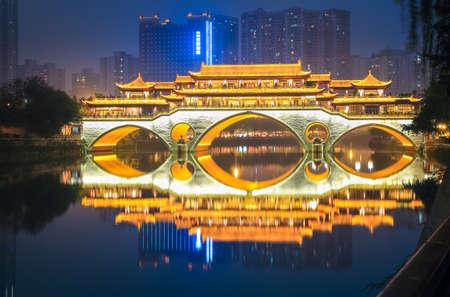 anshun covered bridge in chengdu at night , China.
