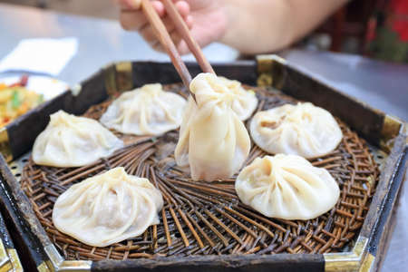 china cuisine: Xian soup dumplings,muslim street fine food,China