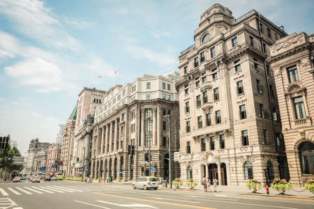 pilasters: cityscape of the bund in shanghai with excellent historical buildings  Stock Photo